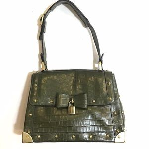 Vintage Y2K Green Faux Croc Bag